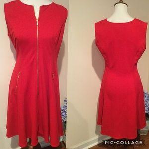 Calvin Klein Red Zipper Front Dress. NWOT